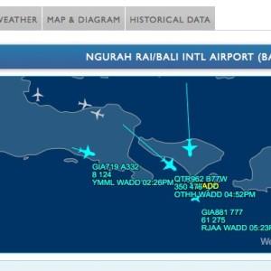 バリ空港の運行状況を知るには?:Flight Aware