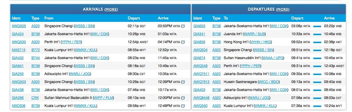 到着発着便の状況一覧:Flight tacker